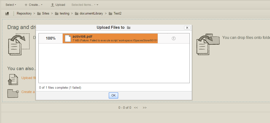 File upload message